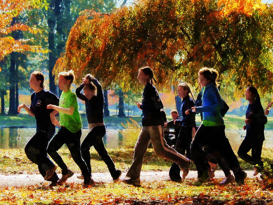 Girls Jogging On An Autumn Day Photograph  - Girls Jogging On An Autumn Day Fine Art Print