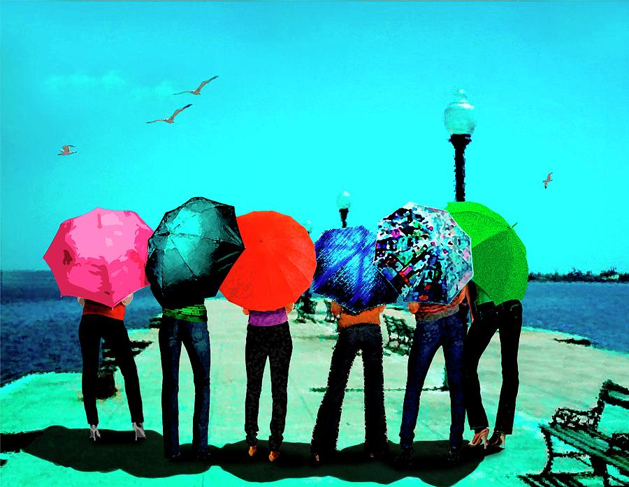 Girls Umbrellas And Sun Digital Art  - Girls Umbrellas And Sun Fine Art Print