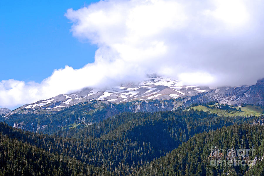 Glaciers In The Clouds. Mt. Rainier National Park Photograph