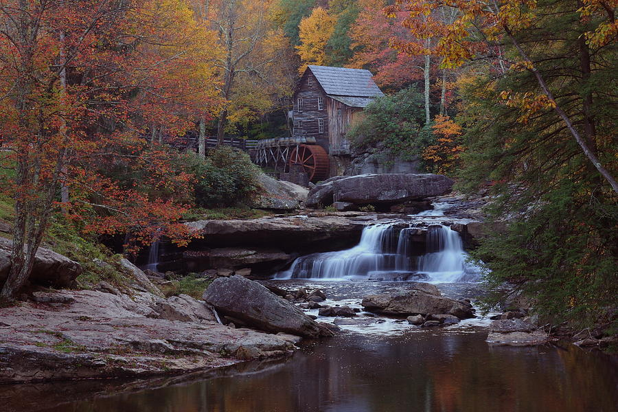 Glade Creek Grist Mill In Autumn Photograph  - Glade Creek Grist Mill In Autumn Fine Art Print