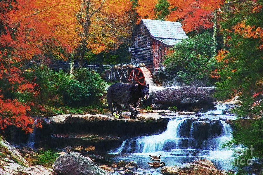 Glade Creek Grist Mill Digital Art  - Glade Creek Grist Mill Fine Art Print