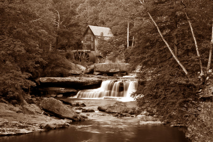 Glade Creek Mill In Sepia Photograph  - Glade Creek Mill In Sepia Fine Art Print