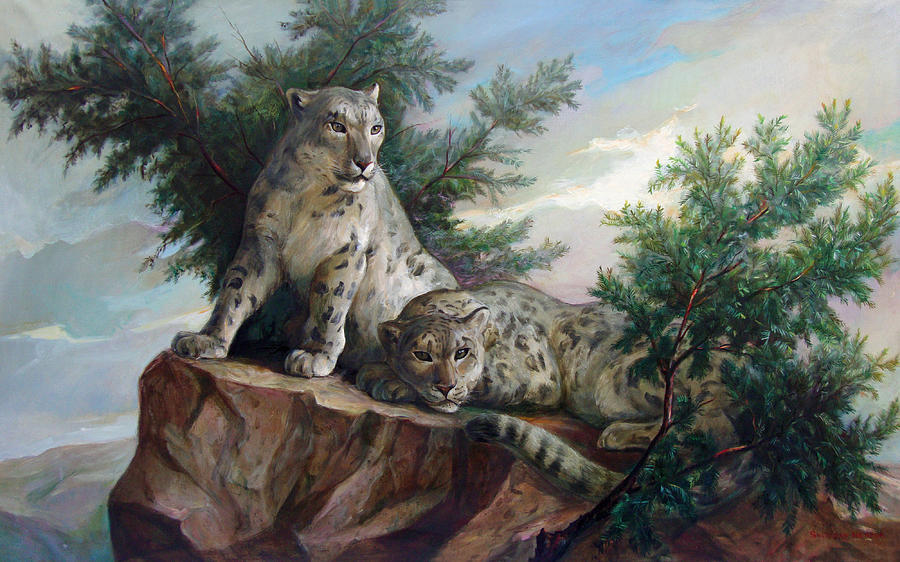 Glamorous Friendship- Snow Leopards Painting  - Glamorous Friendship- Snow Leopards Fine Art Print