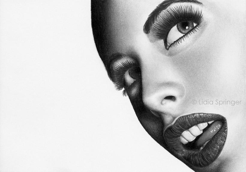 Realistic Pencil Portrait Drawing By Lidia Springer Art Glamour Face People  Drawing - Glamour Face by Lidia Springer