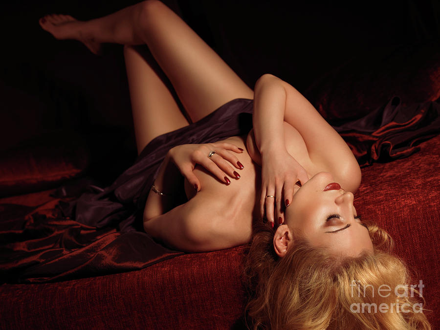 Glamour Photo Of A Woman Lying On A Bed Photograph  - Glamour Photo Of A Woman Lying On A Bed Fine Art Print