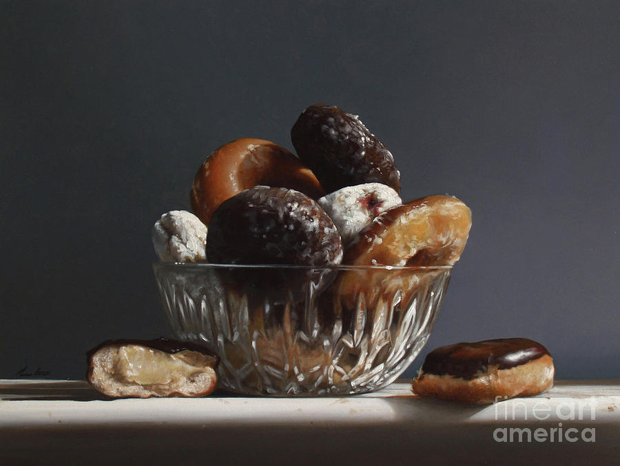 Glass Bowl Of Donuts Painting  - Glass Bowl Of Donuts Fine Art Print