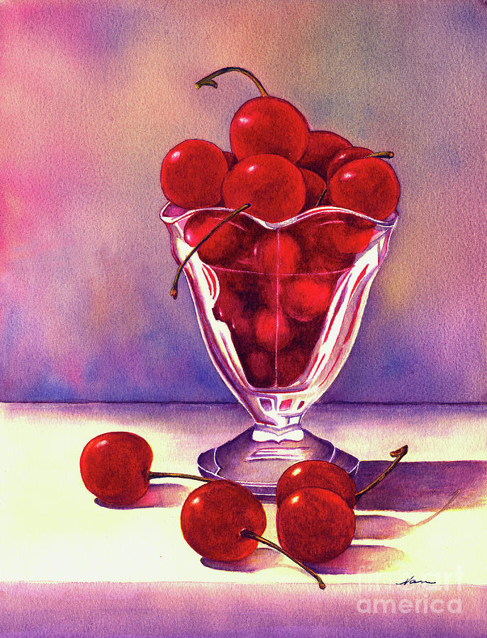 Glass Full Of Cherries Painting  - Glass Full Of Cherries Fine Art Print