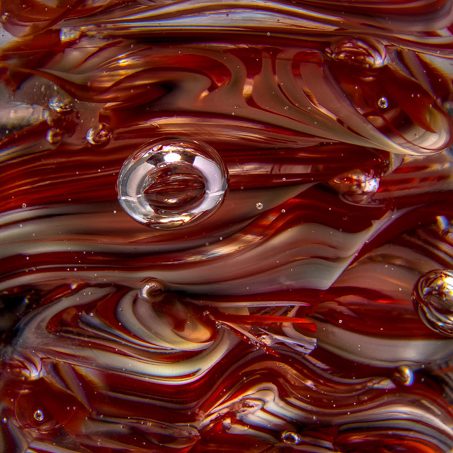 Glass Macro Abstract Crimson And Gray Photograph