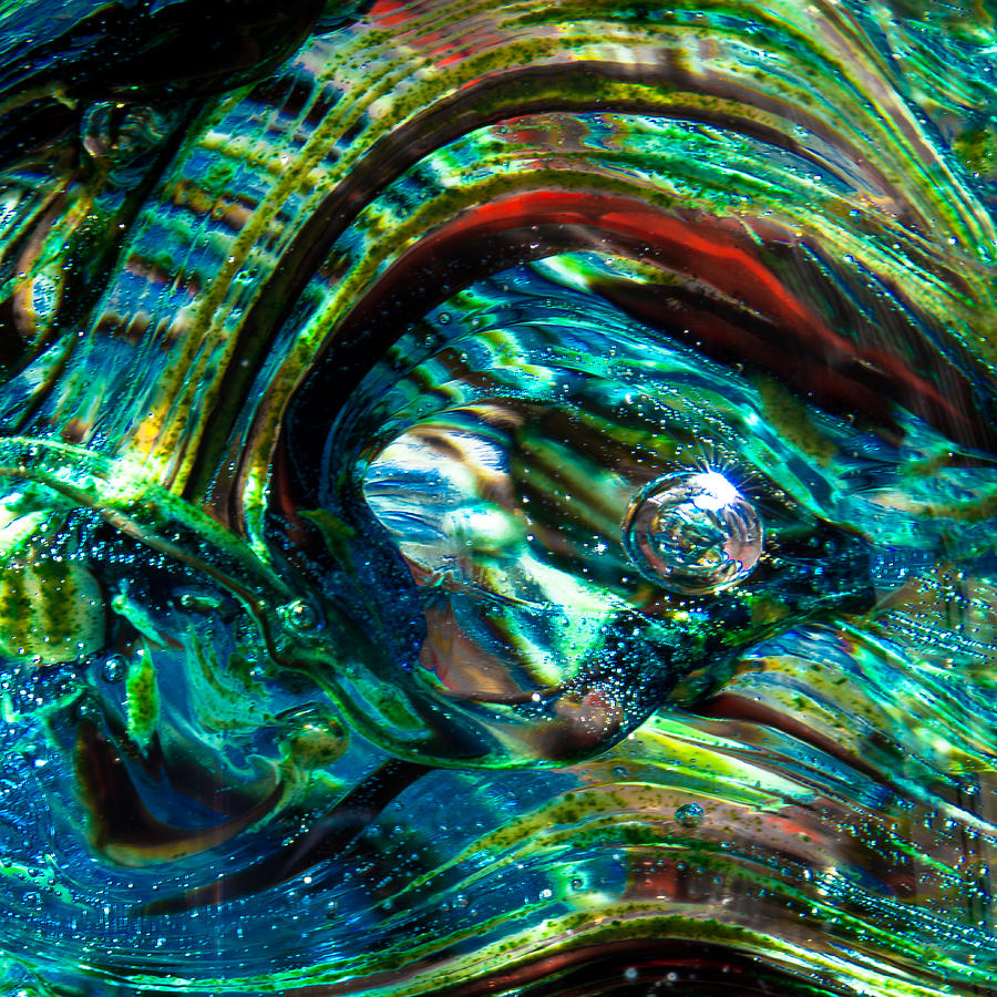 Glass Macro - Blue Green Swirls Photograph