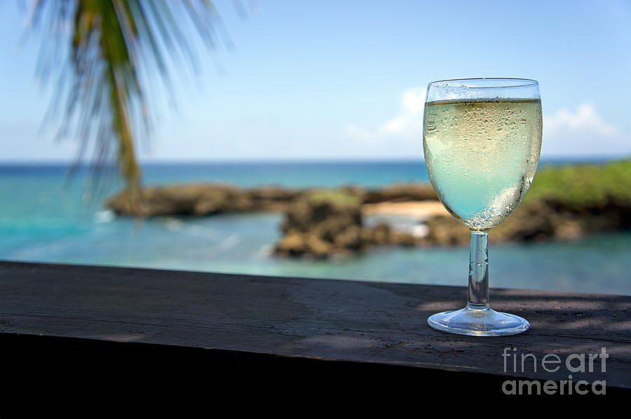 Glass Of Fresh Wine By Tropical Beach Photograph