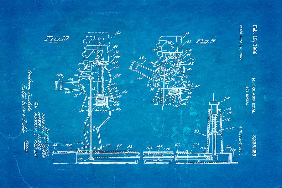 Famous Photograph - Glass Rock Em Sock Em Robots Toy Patent Art 3 1966 Blueprint by Ian Monk