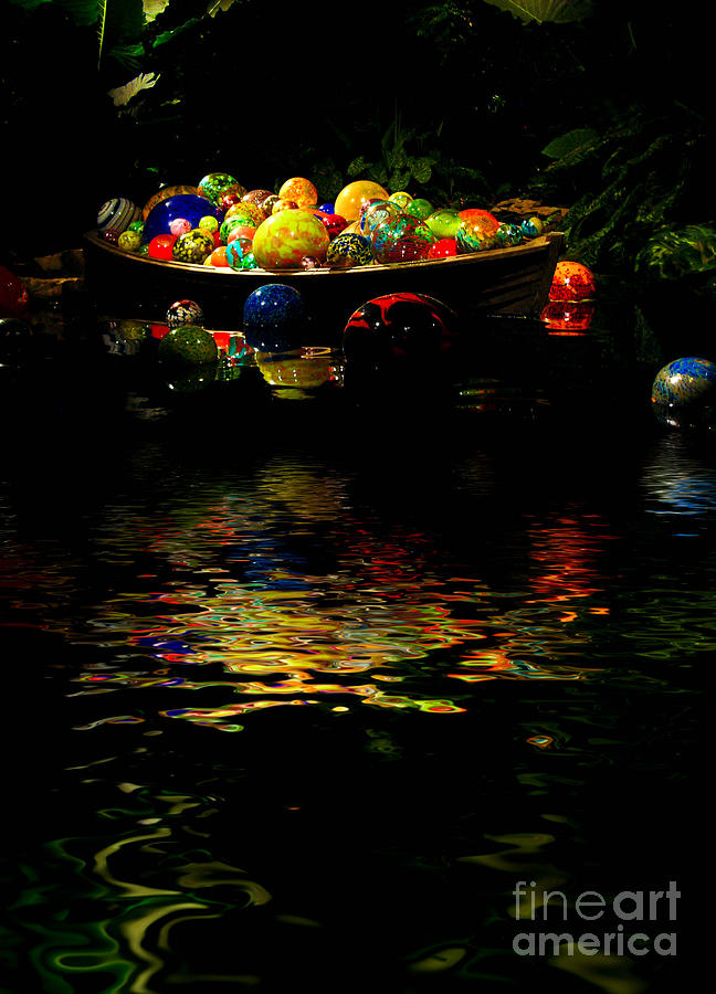 Glass Sculpture Balls In Rowboat Photograph
