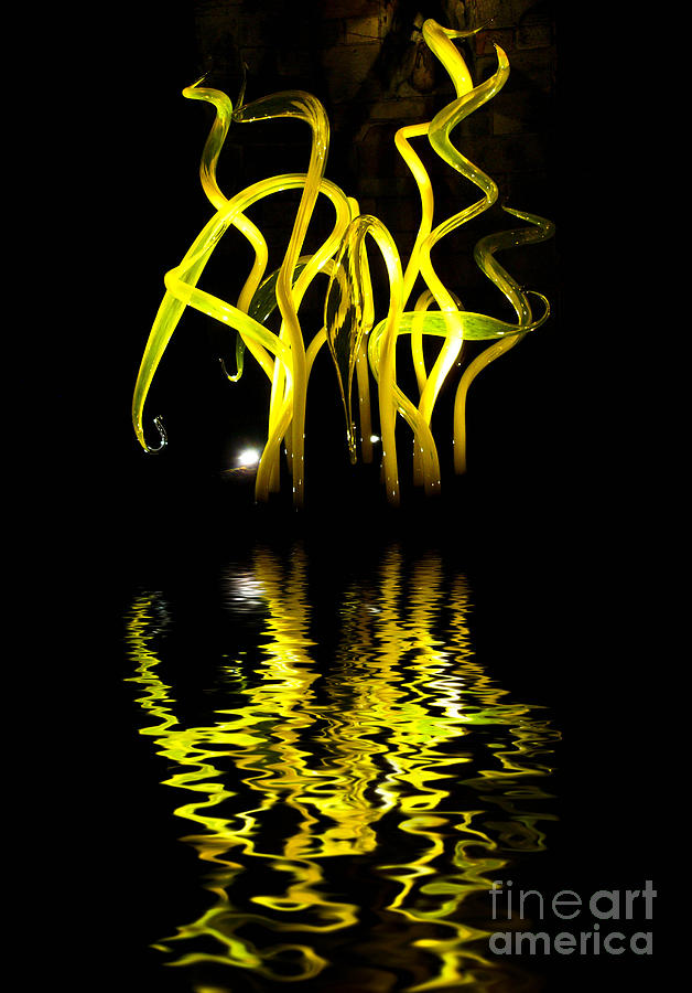 Glass Sculpture Yellow Flumes Photograph