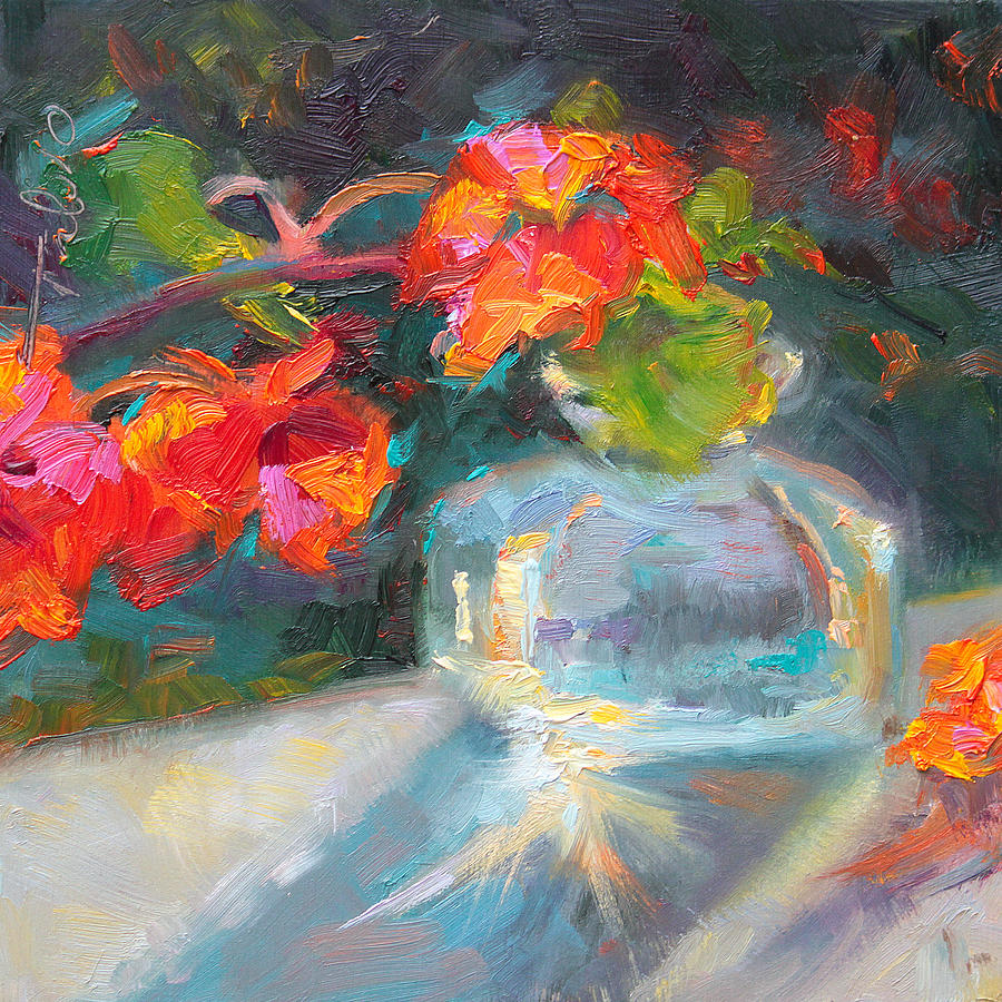Nasturtium Painting - Gleaning Light Nasturtium Still Life by Talya Johnson
