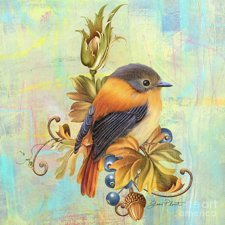 Jean Plout Painting - Glorious Birds On Aqua-a2 by Jean Plout