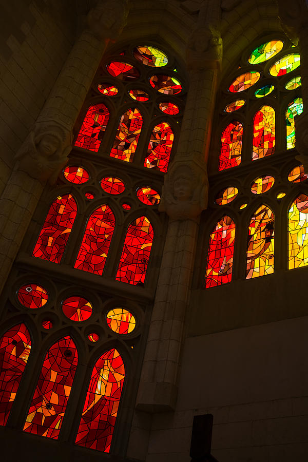 Glorious Reds And Yellows - Sagrada Familia Stained Glass Windows Photograph