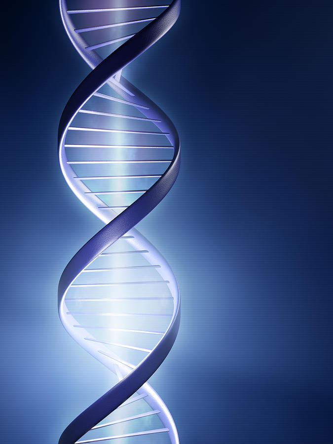 Glowing Dna Strand Photograph