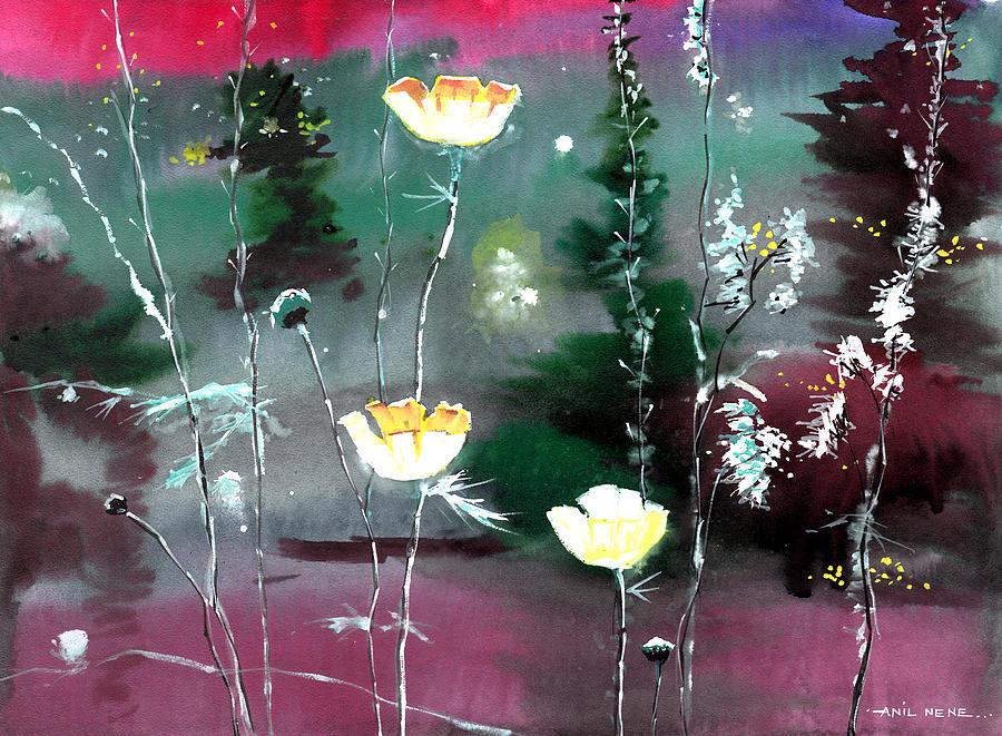 Glowing Flowers Painting