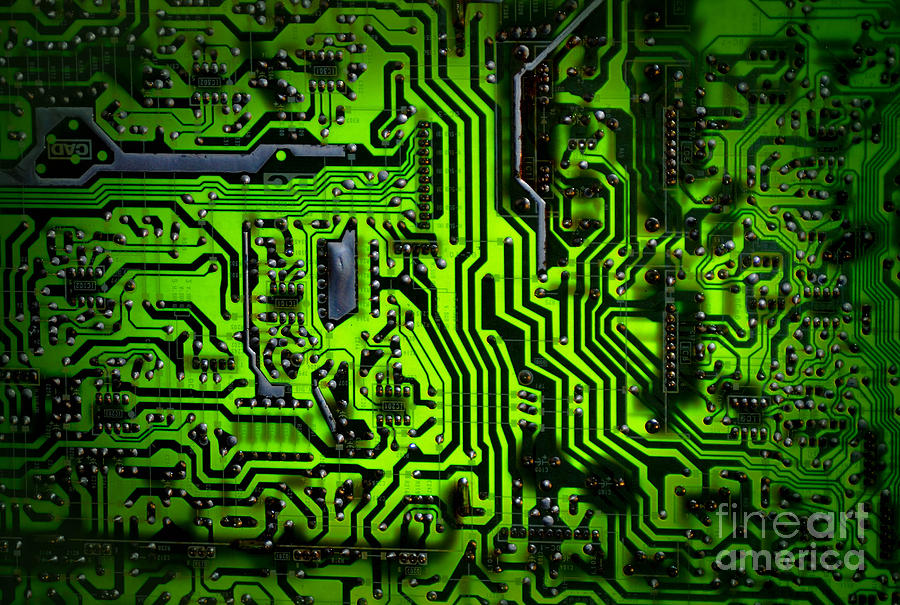 Glowing Green Circuit Board Photograph  - Glowing Green Circuit Board Fine Art Print