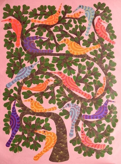 Narmada Prasad Tekam Painting - Gnpt 61 by Narmada Prasad Tekam