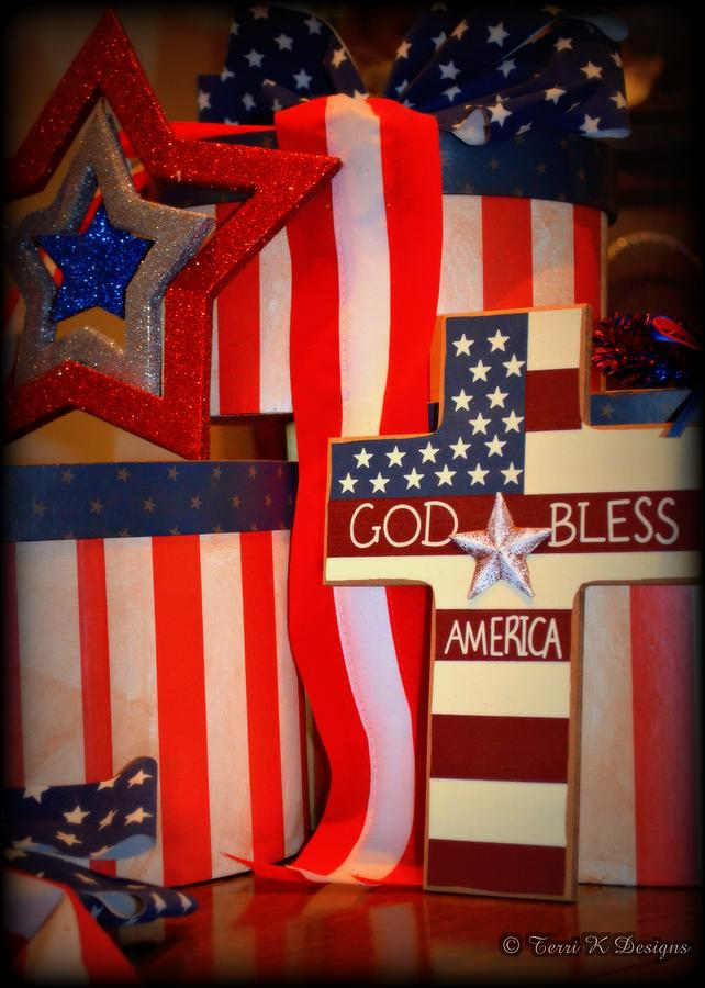 Red Photograph - God Bless America by Terri K Designs