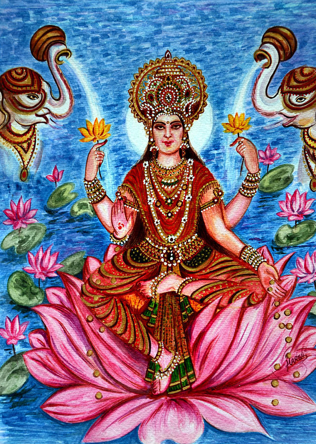 Goddess Lakshmi Painting By Harsh Malik
