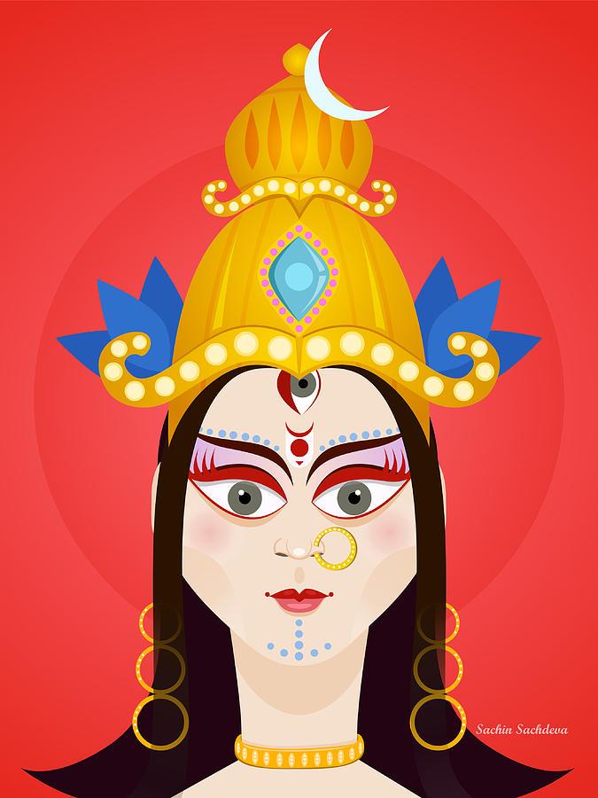 Durga Digital Art - Goddess Maa Durga by Sachin Sachdeva