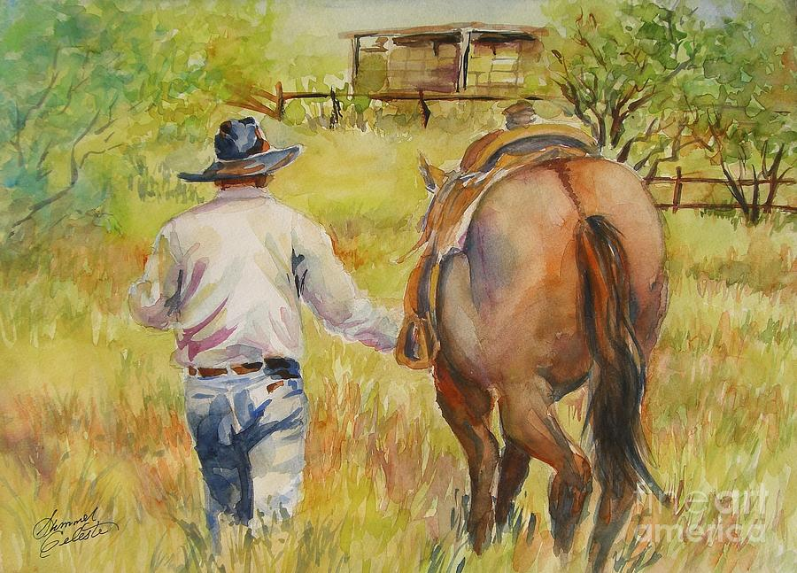 Cowboy Painting - Going Home by Summer Celeste