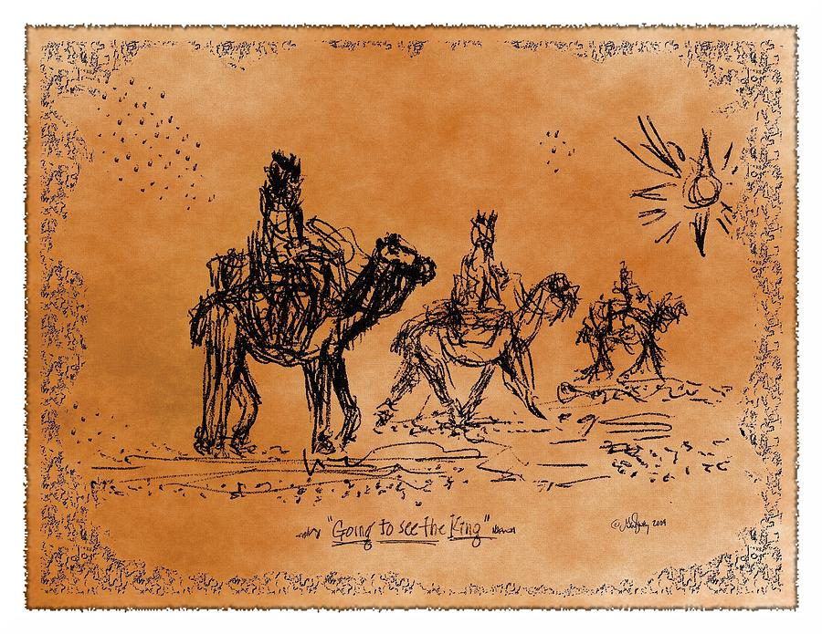 Going To See The King - Sketch Drawing  - Going To See The King - Sketch Fine Art Print