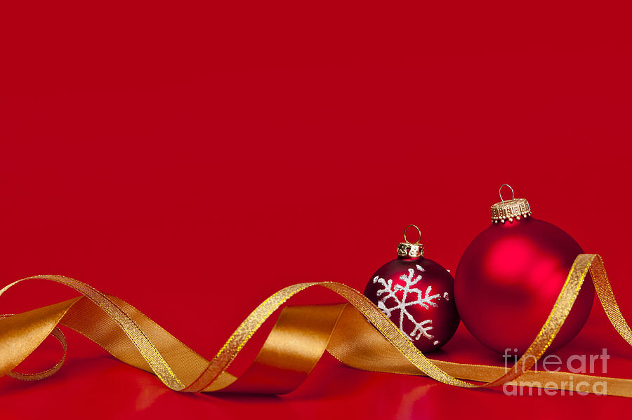 Gold And Red Christmas Decorations Photograph  - Gold And Red Christmas Decorations Fine Art Print