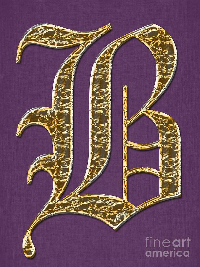 Gold B On Purple Digital Art