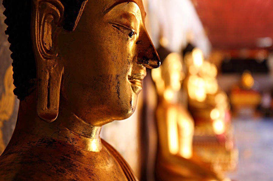 Gold Buddha At Wat Phrathat Doi Suthep Photograph  - Gold Buddha At Wat Phrathat Doi Suthep Fine Art Print