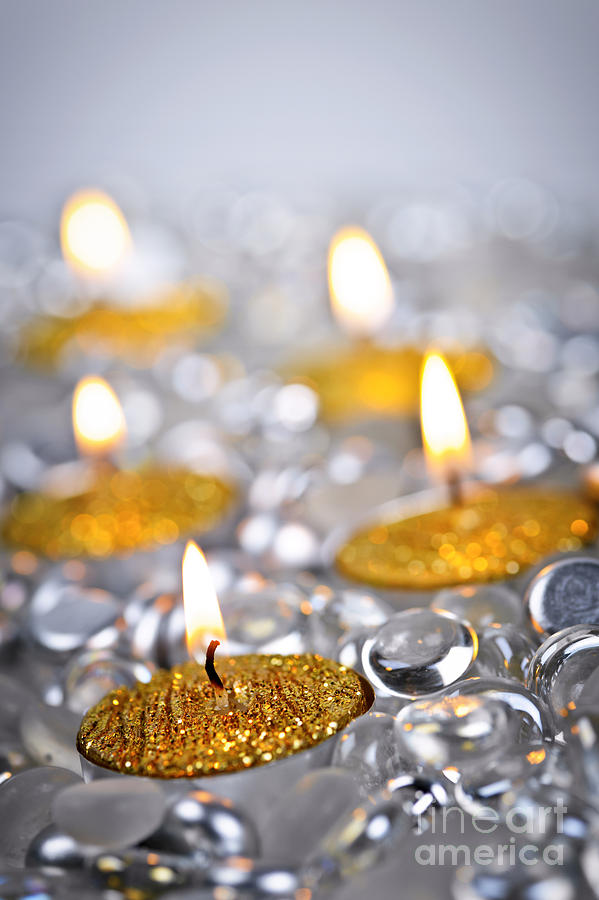 Candles Photograph - Gold Christmas Candles by Elena Elisseeva