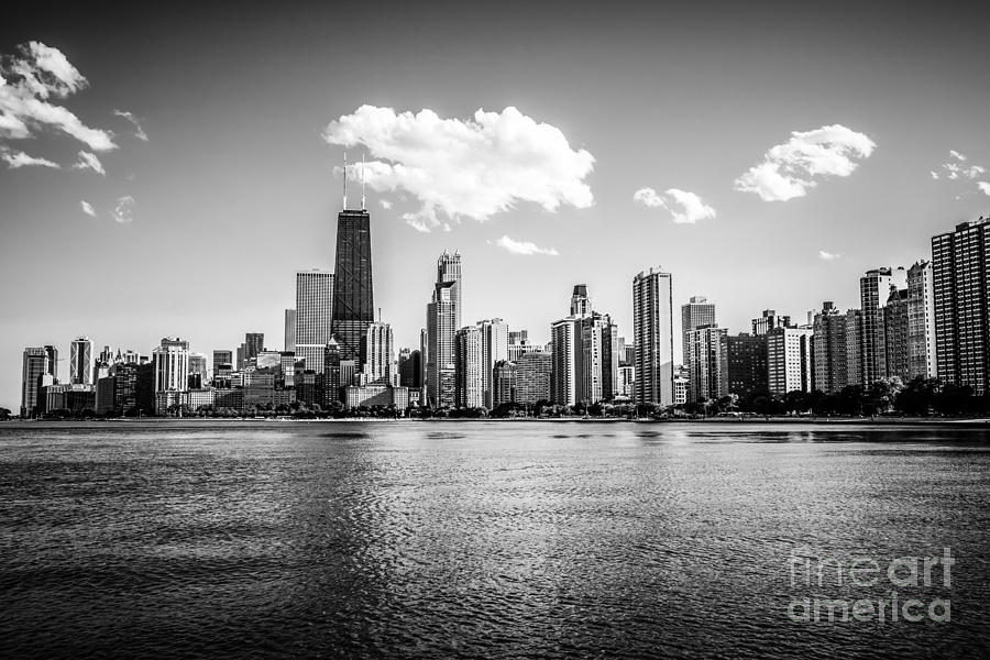 Gold Coast Skyline In Chicago Black And White Picture Photograph