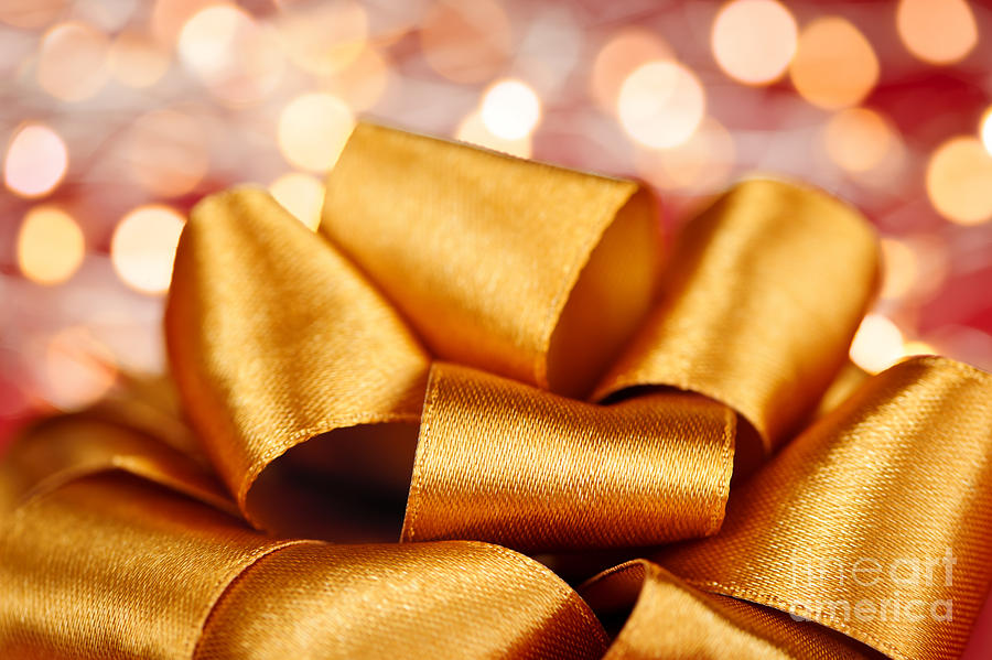 Gold Gift Bow With Festive Lights Photograph  - Gold Gift Bow With Festive Lights Fine Art Print
