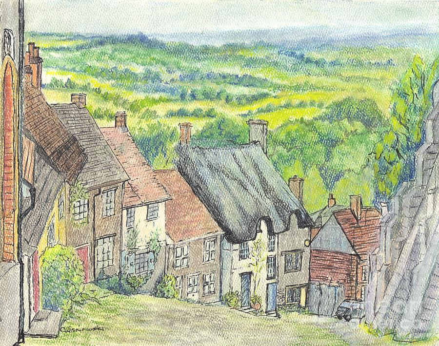 Gold Hill Shaftesbury Dorset England Mixed Media  - Gold Hill Shaftesbury Dorset England Fine Art Print
