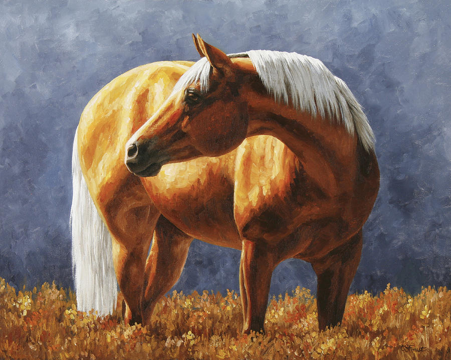 Gold Horse Meadow Painting  - Gold Horse Meadow Fine Art Print
