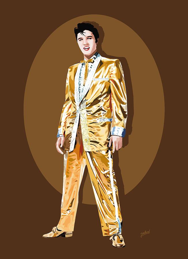 Gold Lamee Elvis Digital Art