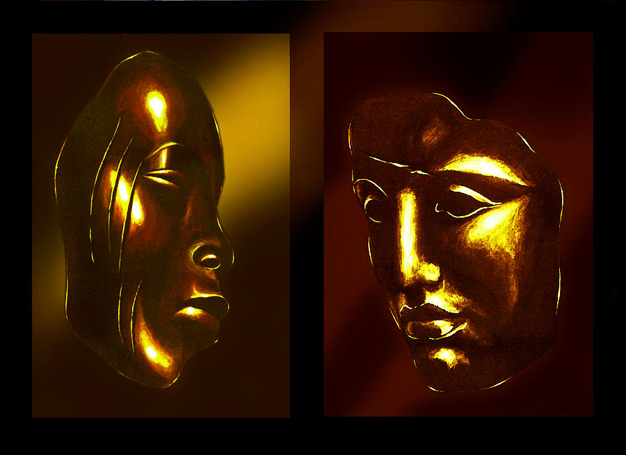 Gold Masks Painting  - Gold Masks Fine Art Print