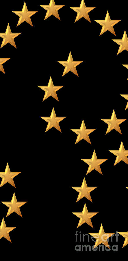 Gold Stars Abstract Triptych Part 2 Digital Art