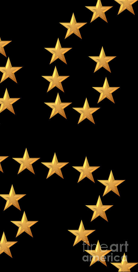 Gold Stars Abstract Triptych Part 3 Digital Art