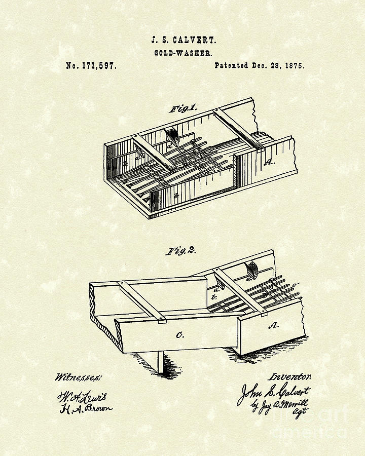 Calvert Drawing - Gold-washer 1876 Patent Art by Prior Art Design