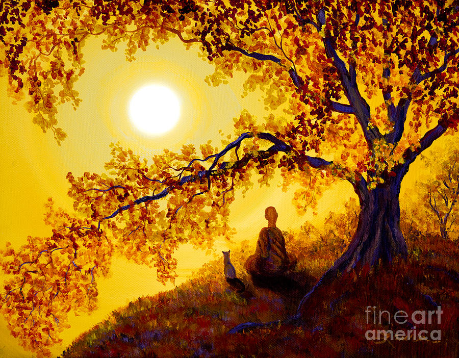 Golden Afternoon Meditation Painting  - Golden Afternoon Meditation Fine Art Print