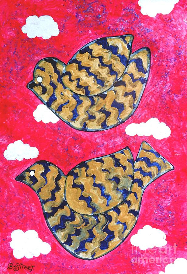 Golden Doves Pink Sky Painting