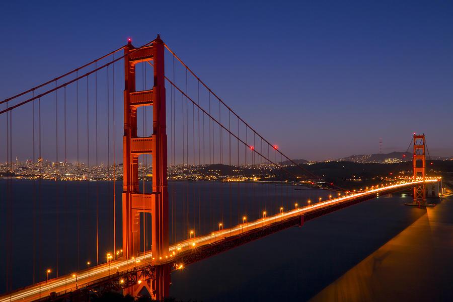 Golden Gate Bridge By Night Photograph