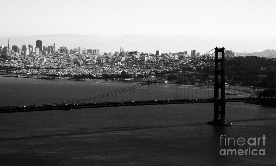 Golden Gate Bridge In Black And White Photograph
