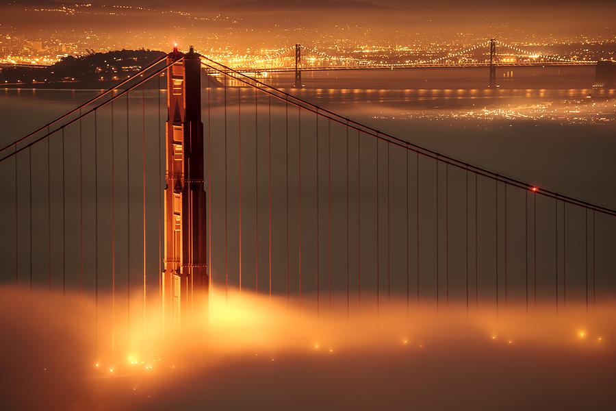 Golden Gate On Fire Photograph