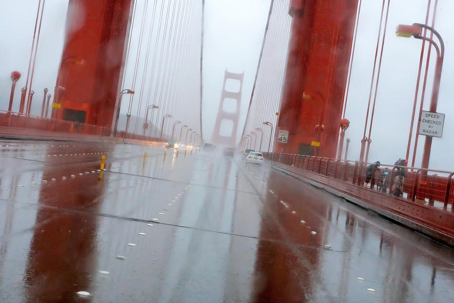 Rain Photograph - Golden Gate Rain by Daniel Furon