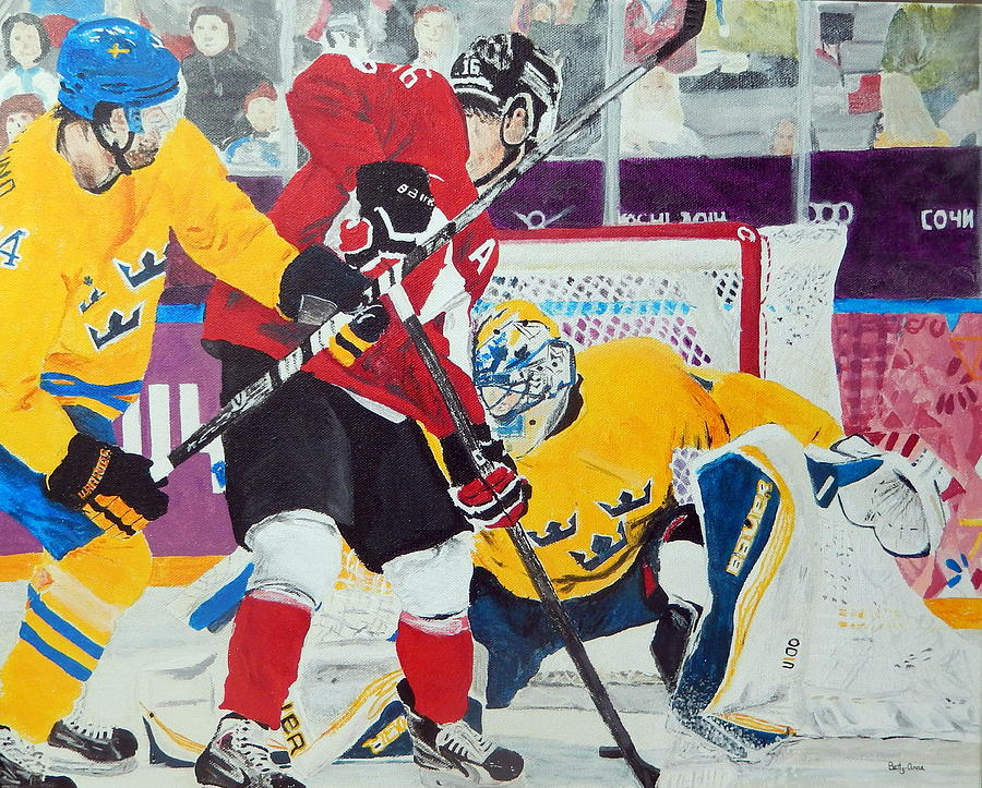 Olympics Painting - Golden Goal In Sochi by Betty-Anne McDonald