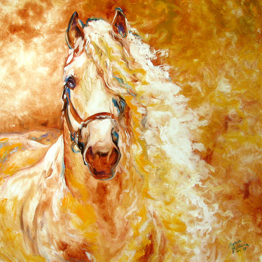 Golden Grace Equine Abstract Painting